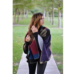 Asymmetrical blanket scarf